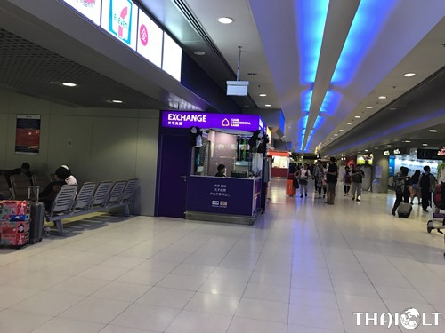 Currency exchange booths at Suvarnabhumi Airport